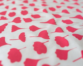 Fabric panel - Flowers and Leaves in watermelon pink on white organic cotton. Textiles for quilting designed + screen printed in Melbourne.