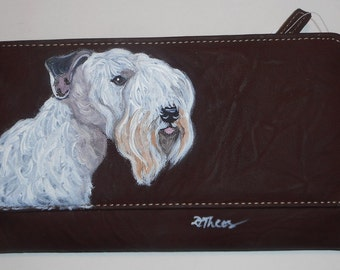 Sealyham Terrier Dog Custom Hand Painted Womens Leather Wallet