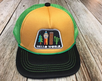 """Toddler Trucker Hat with """"Hello World"""" Patch-3 Months to 2 Years Old"""