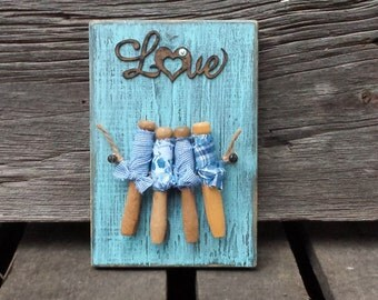 Vintage Clothespins Art - wall plaque - Love - Blue - Homespun - Laundry - Yesteryear