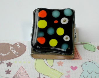 pair of fused glass magnets - square magnetic clips - fused glass embellished - black glass - multicolored polka dots - fridge magnet