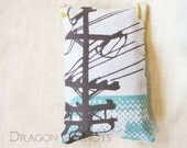 Pocket Tissue Holder - Urban Powerline, Modern Abstract Fabric Tissue Packet Cover - grey, green, yellow, orange city Purse Accessory