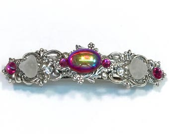 Sparkling Hair Barrette with Iridescent Fuschia  AB Cabochon  Crystals and Beach Glass