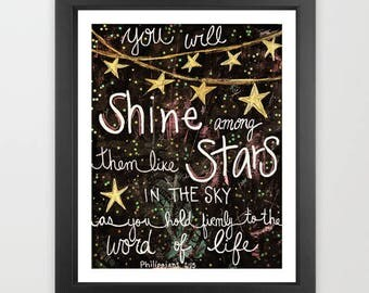 shine like stars, bible, bible quote, stars in the sky, scripture, Philippians, christian art, home decor, religious art, motivational art,