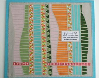 "Original Fabric Mosaic, wood backing, 18"" x 18"""