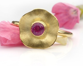 Pink Sapphire Flower Ring, 18ct Gold