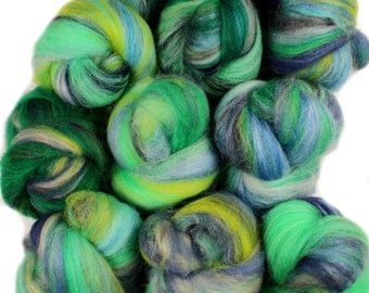 Mint Leaf -- mini batts (2 oz.) merino wool, silk, bamboo, sparkle