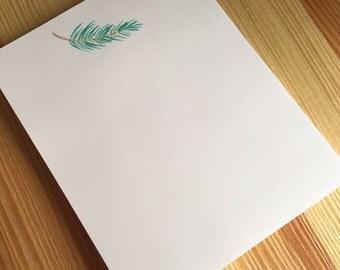 Winter Holiday Pine Branch Notepad - Watercolor Pine Branch Notepad - Holiday Hostess Gift - Handmade Notepad - 40 Sheet Notepad