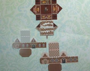 Set of Three DIY Dollhouse Miniature Gingerbread Houses