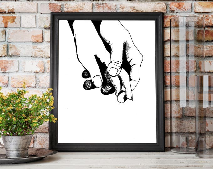 Featured listing image: Together - Holding Hands Original Ink Drawing - Art Print