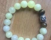Pale Yellow Quartzite & Tigers Eye Buddha Bracelet