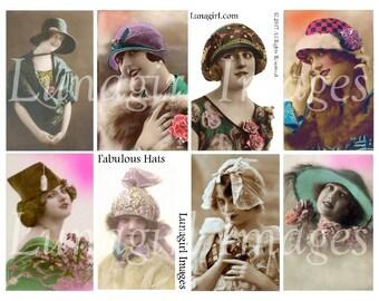 FLAPPERS HATS, digital collage sheet, vintage women girls 1920s fashions, bright tinted postcards, vintage photos, art ephemera Download