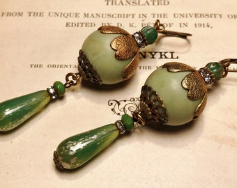 Art Deco Lantern Earrings in Light Green