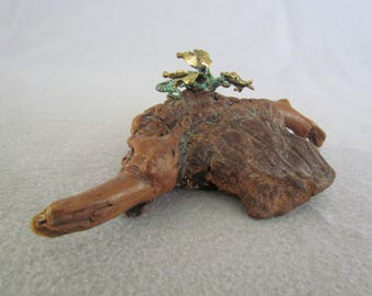 Small cast Bronze Dragon mounted on a Gnarled Root