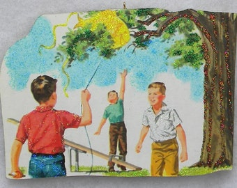 Boys Fish Kite Caught In Tree Glittered Wood Christmas Ornament Vintage Book Image