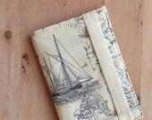 SALE - Nautical map passport cover - fabric passport case - Unisex single passport holder