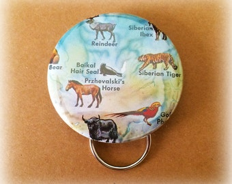 Arctic Animals Key Chain / Bottle Opener -- Made with Vintage Ephemera -- One of a Kind