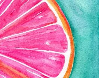 Grapefruit Watercolor Painting, Original Citrus ART 5 x 7 kitchen decor, wall art, grapefruit painting on turquoise, SharonFosterArt