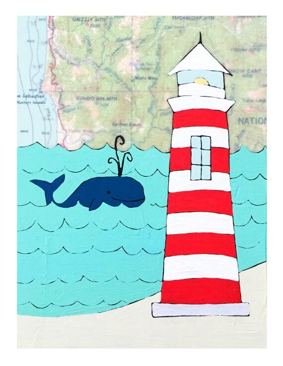 NEW // Lighthouse Map Print // Coastal Art // Travel Art // Whale Print // Beach House Decor // Modern Nursery // Rachel Austin Art 11x14
