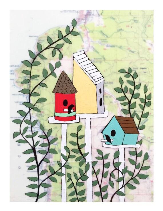NEW // Bird House Map Print // Modern Kid Room // Garden Lover Art // Modern Nursery // Bird Art // Rachel Austin Art 11x14