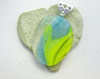 Fused Dichroic Glass Pendant - Yellow and Aqua Dichroic Pendant