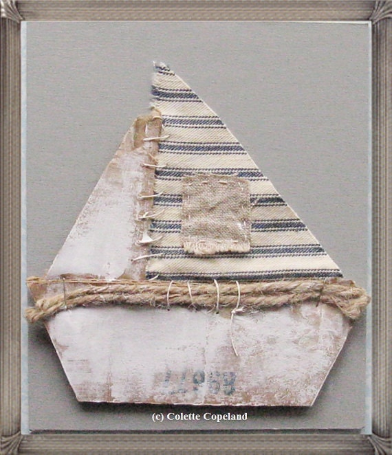 Sailboat, cardboard art, 3D, one of a kind, folk art, boat, nautical