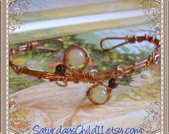 Quartz Bracelet, Handmade Copper Bracelet, Wire Wrapped Jewelry, Copper Jewelry, Rutilated Quartz Cuff Bracelet, Handmade Jewelry
