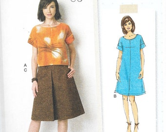 Butterick 6182 - Lisette PULLOVER DRESS, TOP and Skirt - Sewing Pattern - Sizes 6-8-10-12-14 - Uncut
