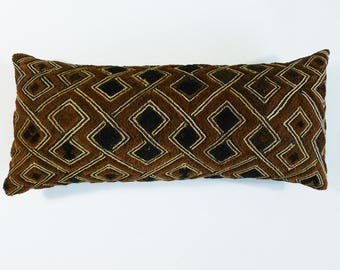 Bohemian Pillow ~ Authentic Kuba Cloth Pillow (KUB49)