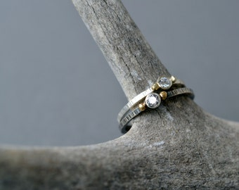 Petite White Sapphire or CZ Engagement Ring/ Stacking Ring