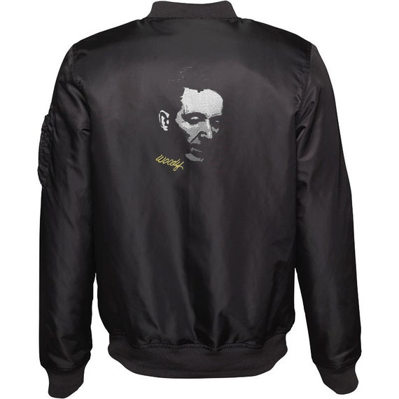 Women's Embroidered Bomber Jacket - Woodie Guthrie
