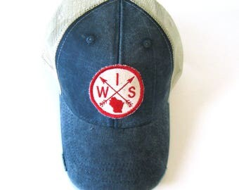Distressed Snapback Trucker Hat - Wisconsin Patched Arrow Compass on Washed Navy Blue Hat
