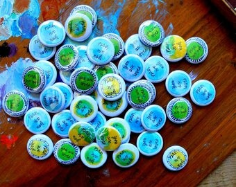 you are loved - blue + green - blessing buttons with pin back