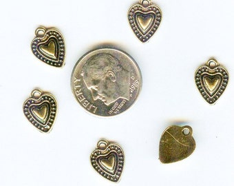 Charming Antique Gold Finished Beaded Heart Pendant Charm 9x9mm 6 pcs