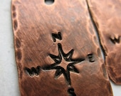 Antiqued Copper Hammered and Compass Stamped Charm Trio - 20 and 24mm