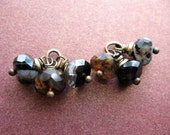 Faceted Black Banded Agate Bead Charms - 1 Pair - 6 pieces