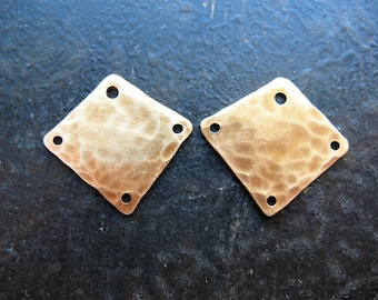 Hammered Antiqued Brass Diamond Charms - 1 pair - 18mm
