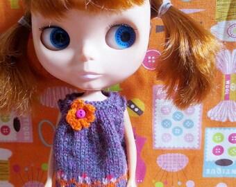 Blythe Cute Flowery Smock Dress - Purple