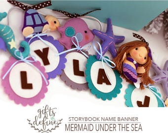 Free US Ship Personalized Name Banner, Under the Sea Fish, Mermaid, Boy or Girl, Ocean Inspired Baby Nursery Decor, Sea Theme Party Decor