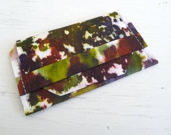 Greens, Reds, and Plum Kraft Tex Gift Card Holder, Business Card Case, Card Sleeve, Hand Dyed