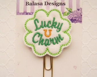Lucky Charm Clover St Patricks Day Planner Clip, Bookmark, Planner Accessory, Paper Clip