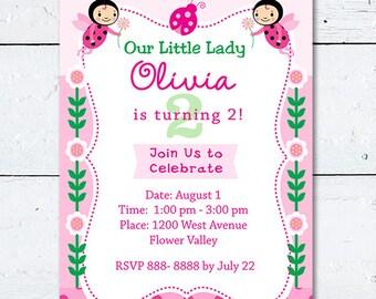 Pink Ladybug Birthday Invitation, Custom Digital Ladybug Invite, 5x7, Girls Birthday Party