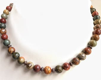 Picasso Jasper necklace. Copper accents .
