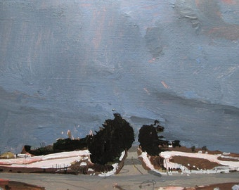 Outbound, Original Winter Landscape Painting on Paper, Stooshinoff