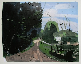 May Climb, Original Spring Landscape Collage Painting on Paper, Stooshinoff