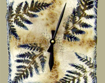 Fossil Ferns Glass Wall or Mantel Clock in Deep Blue and Brown on Ivory