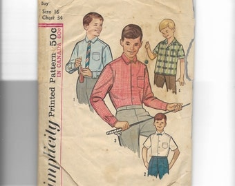 Simplicity Boy's Shirt Pattern 5539