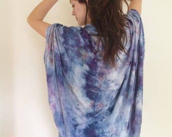 Hand Dyed Rayon Cloud Wrap in Iris , Black and White, Anna Joyce, Portland, Oregon