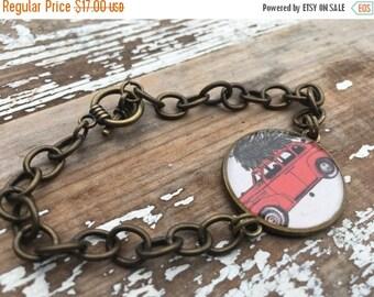 SALE- Christmas Tree Bracelet-Resin Bezel
