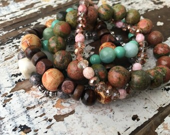 Beaded Stack Bracelets-Glass and Wood-Cuff Accessories-Boho Style-Mint Chocolate Chip